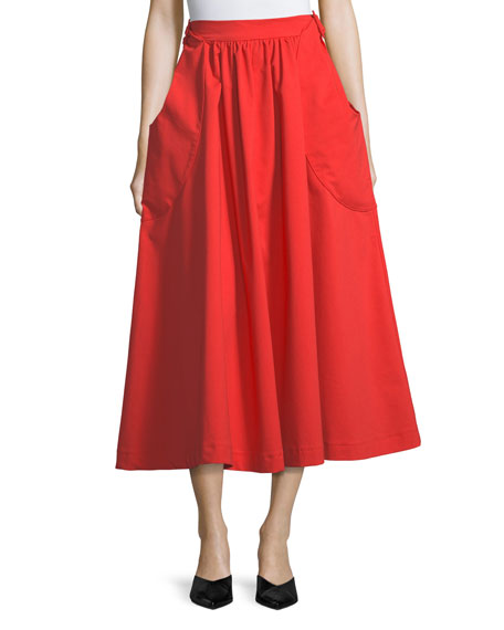 Daisy A-line Cotton Midi Skirt