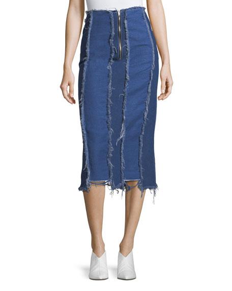 REJINA PYO Ashley Frayed Midi Denim Pencil Skirt