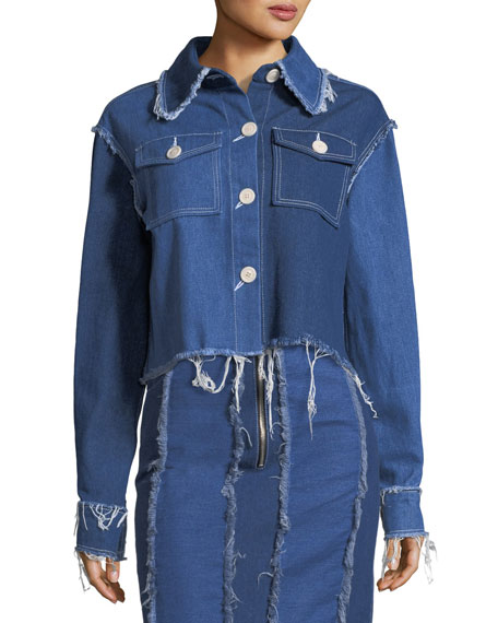 Tessa Button-Front Frayed Denim Jacket