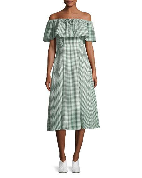 REJINA PYO Olivia Off-the-Shoulder Gingham-Printed Dress