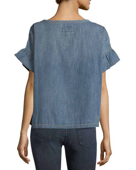 The Ana Ruffled Chambray Top