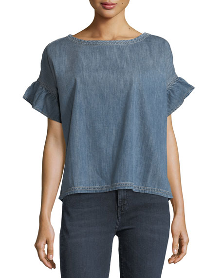 Current/Elliott The Ana Ruffled Chambray Top
