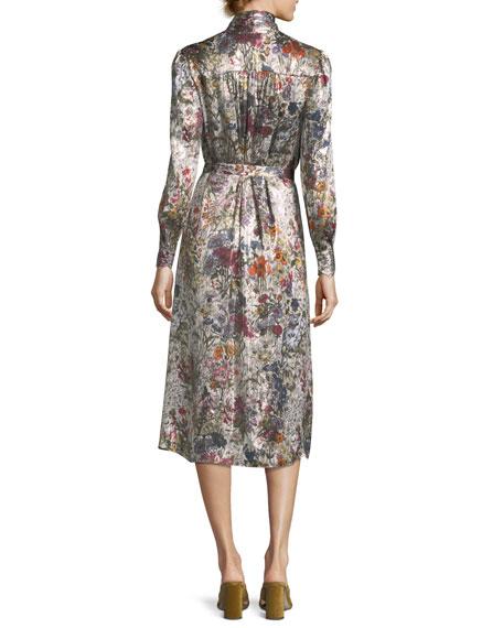 Vanessa Long-Sleeve Floral-Print Satin Dress