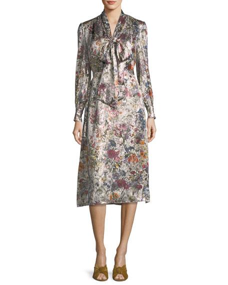 Tory Burch Vanessa Long-Sleeve Floral-Print Satin Dress