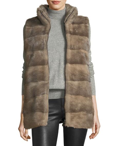 Belle Fare Wool Vest w/ Mink Fur Front
