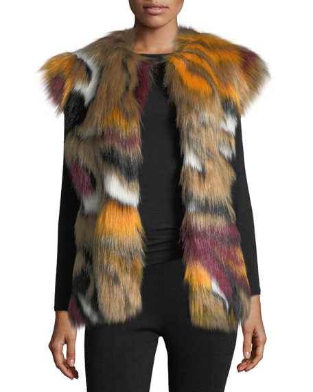Cap-Sleeve Faux-Fur Vest, Multi