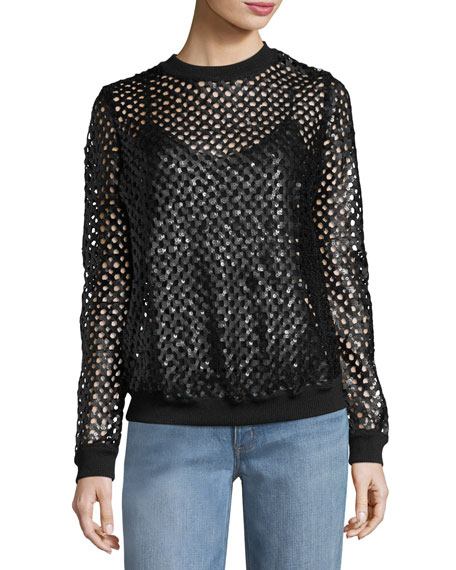 Lansing Sequined Plaid Mesh Sweater