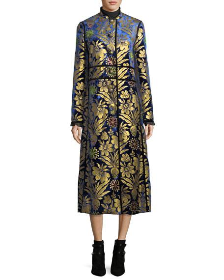 Thelma Cosmic-Foil Velvet Long Jacket
