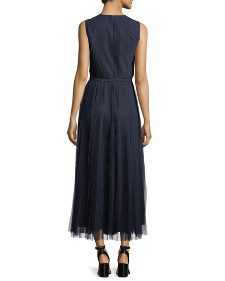 Charlotte Pleated-Mesh Dress