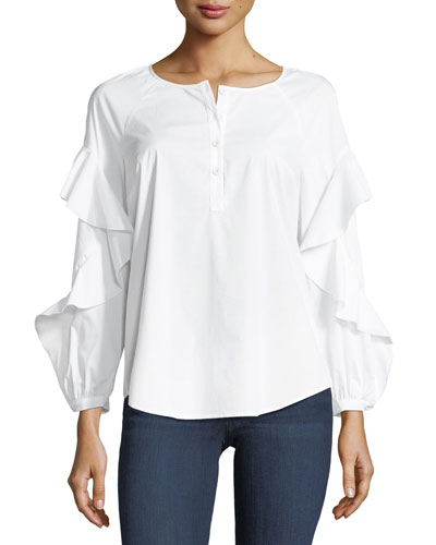 Crewneck Button-Placket Ruffle-Sleeve Poplin Shirt