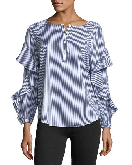 Crewneck Striped Ruffle-Sleeve Poplin Shirt
