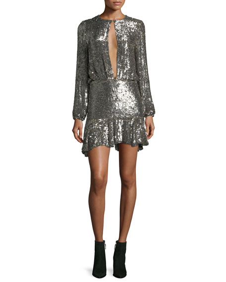 Tamera Split-Front Sequin Mini Dress