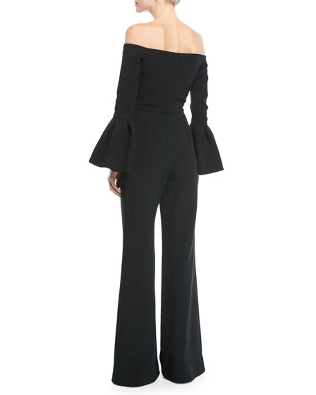 Astoria Off-the-Shoulder Bell-Sleeve Wide-Leg Jumpsuit