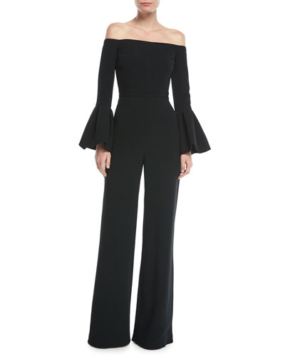 Astoria Off-the-Shoulder Bell-Sleeve Wide-Leg Jumpsuit