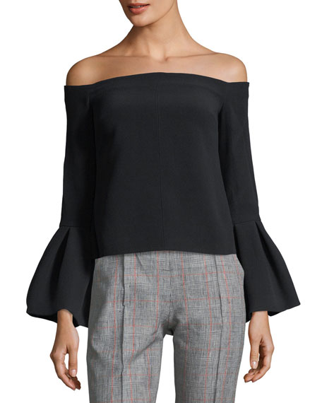 Alexis Tess Off-the-Shoulder Bell-Cuffs Crepe Top