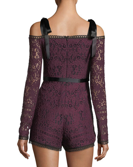 Kathryn Long-Sleeve Lace Romper