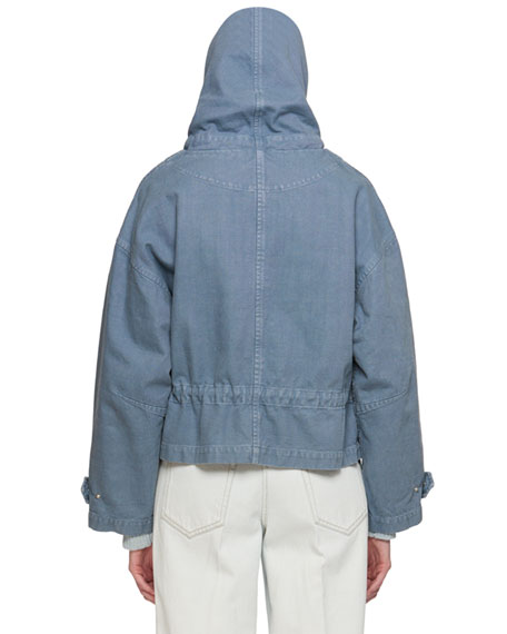 Lagilly Hooded Drawstring Denim Jacket