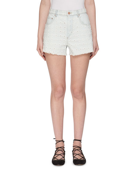 Etoile Isabel Marant Celsa Perforated Denim Shorts