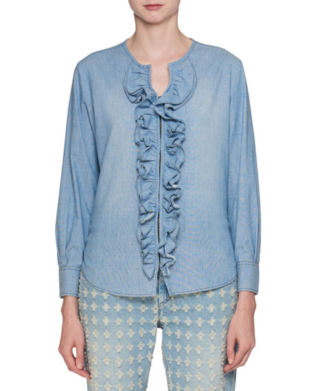 Etoile Isabel Marant Liz Hook-Front Long-Sleeve Denim Blouse