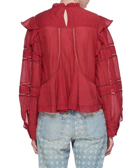 Viviana Mock-Neck Long-Sleeve Cotton Blouse