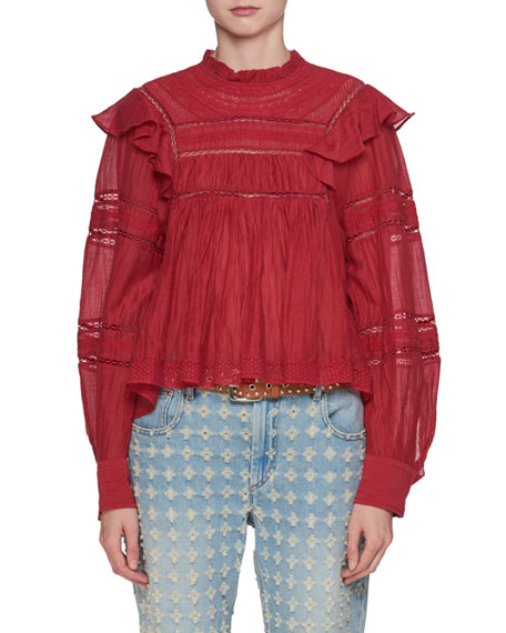 Etoile Isabel Marant Viviana Mock-Neck Long-Sleeve Cotton Blouse