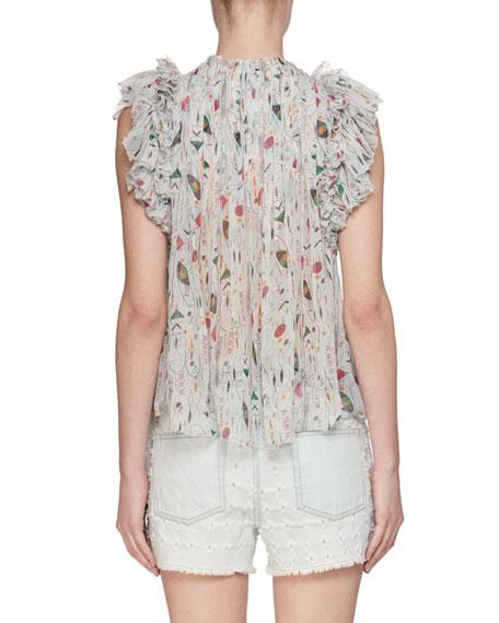 Erell Sleeveless Sheer Printed Silk Blouse