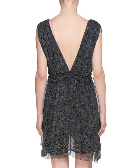Estelle Plunging-Neck Sleeveless Printed Silk Dress