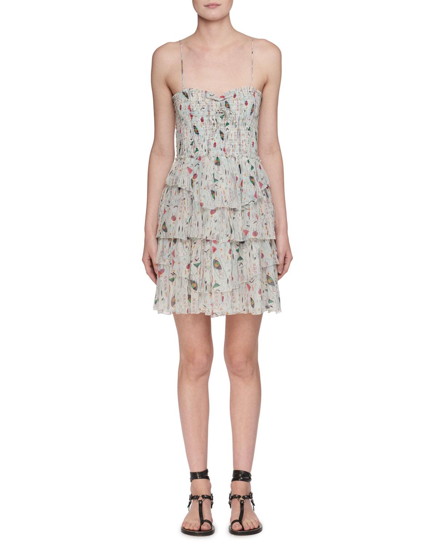 3633f7444b1 Etoile Isabel Marant Elma Sleeveless Printed Smocked Dress