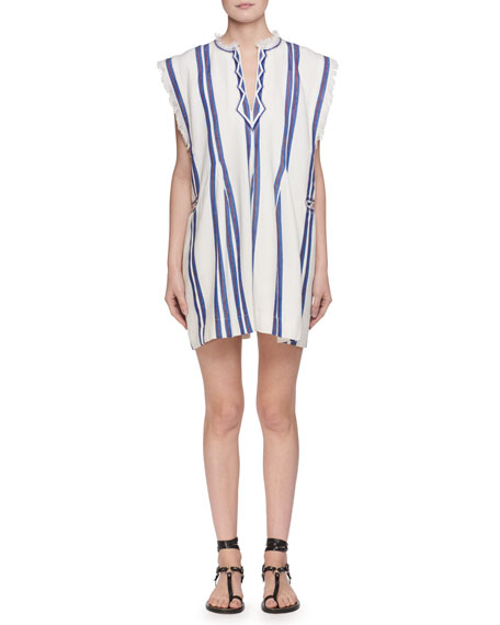 Etoile Isabel Marant Denize V-Neck Striped Cotton Poncho