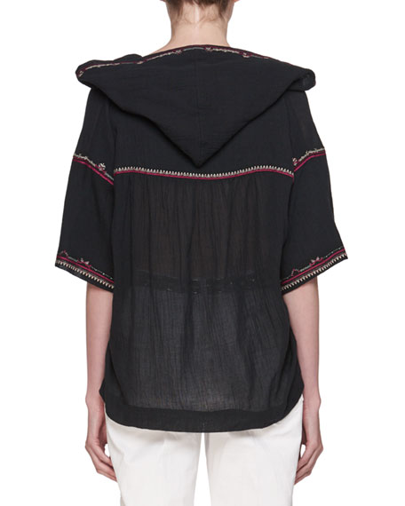 Mekki Half-Sleeve Hooded Blouse with Embroidery