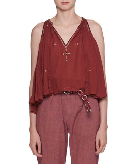 Etoile Isabel Marant Mysen Sleeveless Cotton Blouse with