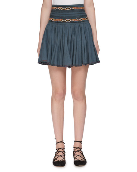 Etoile Isabel Marant Breeda High-Waist Circular Chambray Skirt
