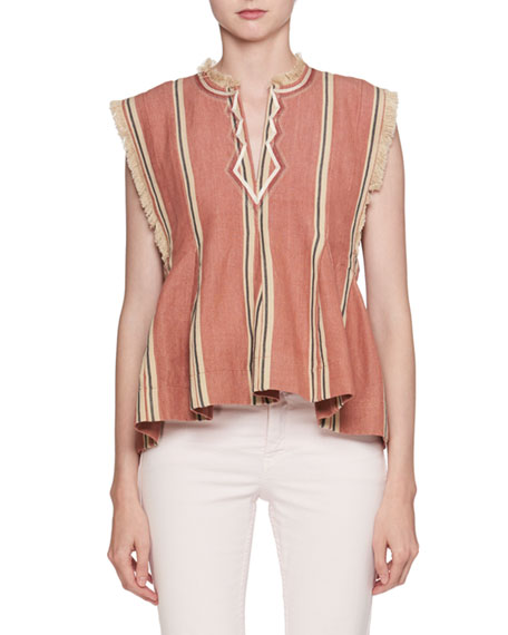 Drappy Sleeveless Striped Peplum Cotton Blouse