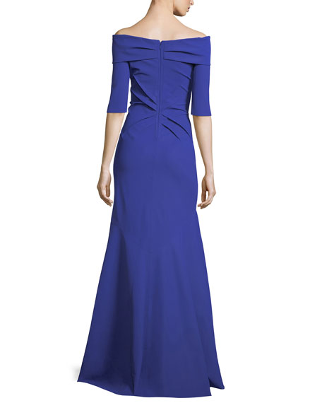 Off-the-Shoulder Elbow-Sleeve Trumpet Evening Gown
