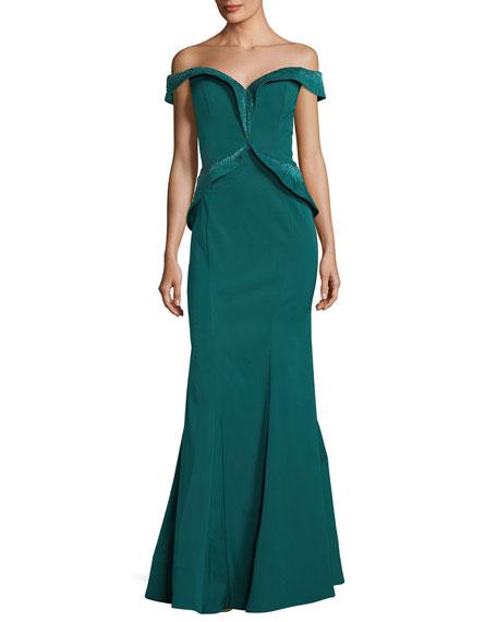 Rene Ruiz Embellished Off-the-Shoulder Evening Gown