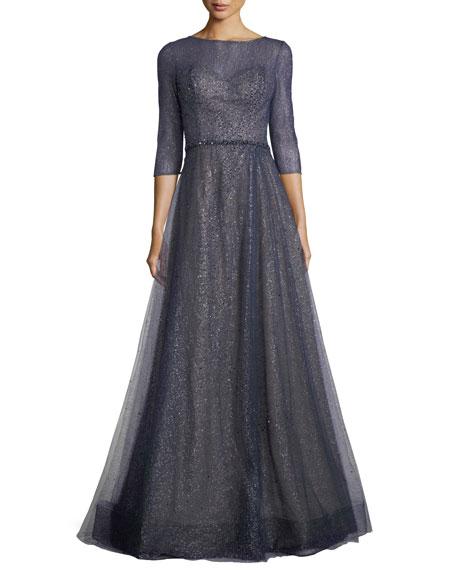 Elno 3/4-Sleeve Metallic Tulle Evening Gown