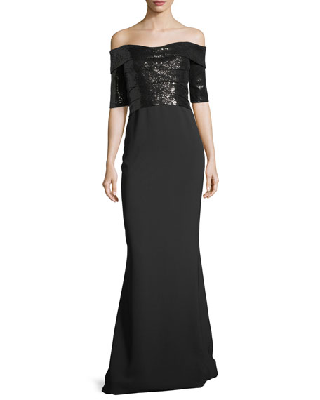Rene Ruiz Elbow-Sleeve Sequin Bodice Evening Gown