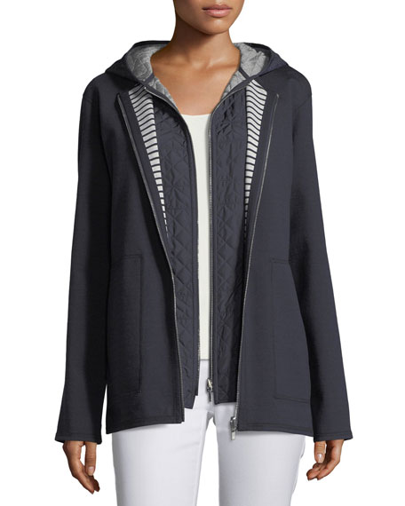 Nolene Dual-Sided Ponte Striped Reversible Jacket