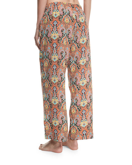 Printed Wide-Leg Drawstring Beach Pants