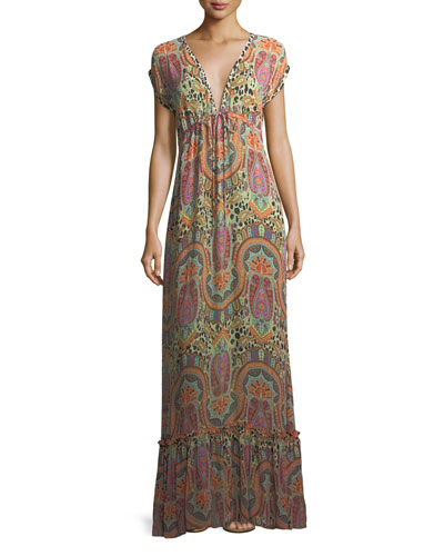 Plunging Cap-Sleeve Printed Coverup Maxi Dress