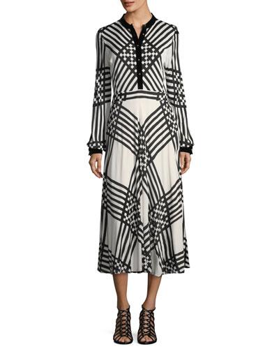 Anja Duchess Striped Satin Dress