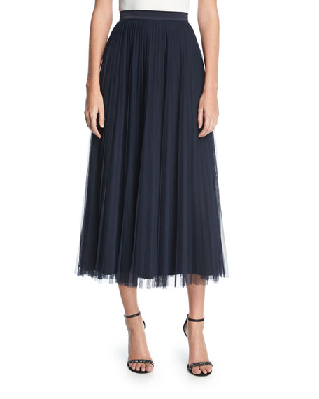 Bianca Pleated Tulle Midi Skirt