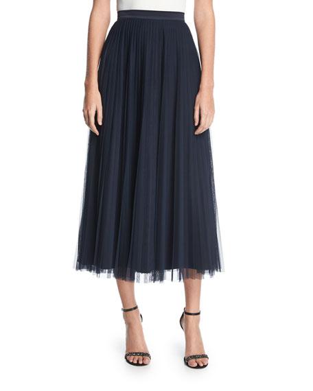 Bianca Pleated Tulle Midi Skirt