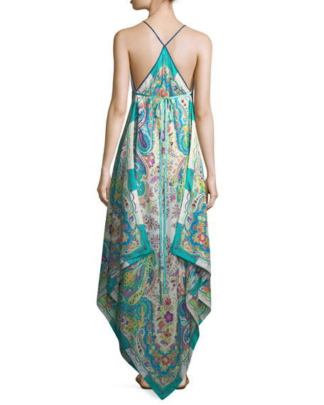 V-Neck Sleeveless Printed Maxi Dress with Ribbon Ties, One Size