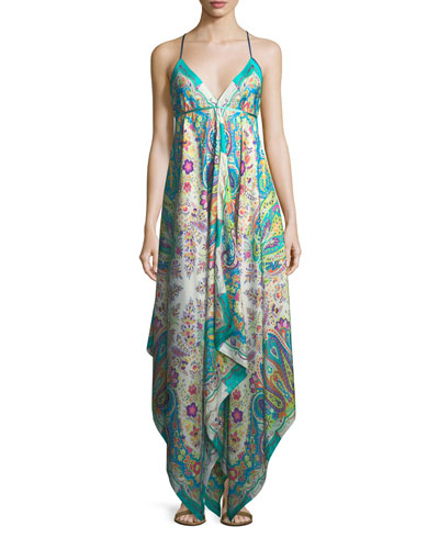 V-Neck Sleeveless Printed Maxi Dress with Ribbon Ties, One Size