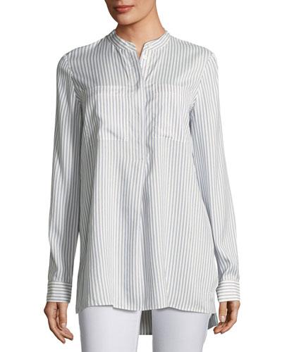 Polina Striped Silk Blouse