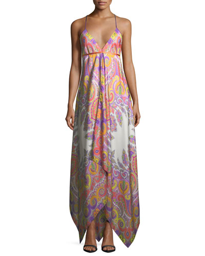 V-Neck Sleeveless Paisley Printed Maxi Dress with Ribbon Ties