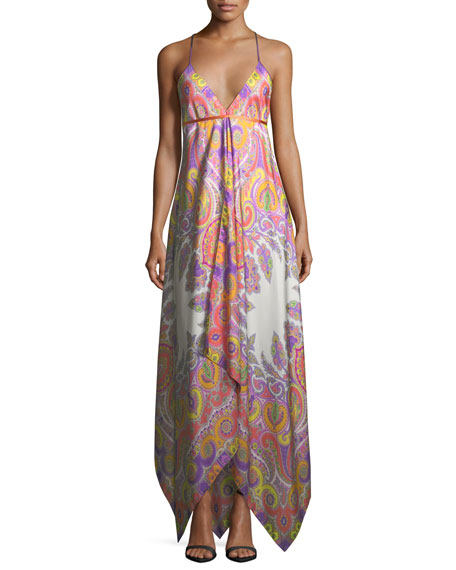 Etro V-Neck Sleeveless Paisley Printed Maxi Dress with