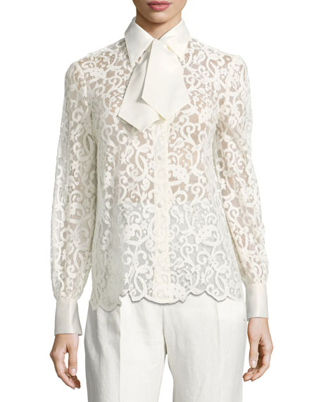 Rosie Long-Sleeve Button-Front Lace Top
