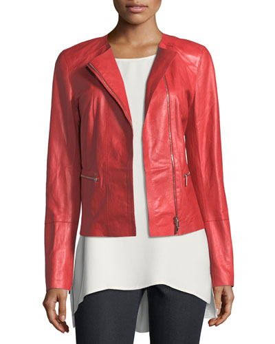 Caridee Zip-Front Leather Jacket